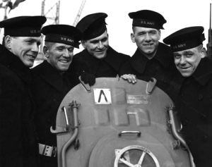 The Sullivans on board the USS Juneau (left to right)  Joseph, Francis, Albert, Madison and George.